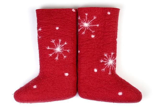 W.X. Валенки-снежинки красные - Валенки в снежинках, из натуральной 100% шерсти...