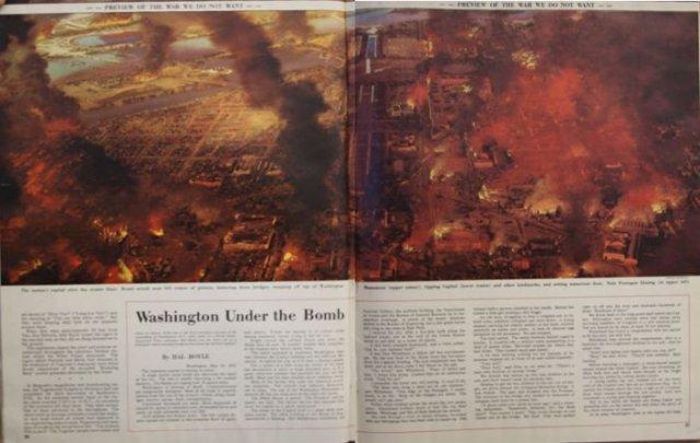 По версии Coliers, война начнется с с беспорядков в Европе из-за Югославии. Затем СССР сбросит бомбу на Вашингтон