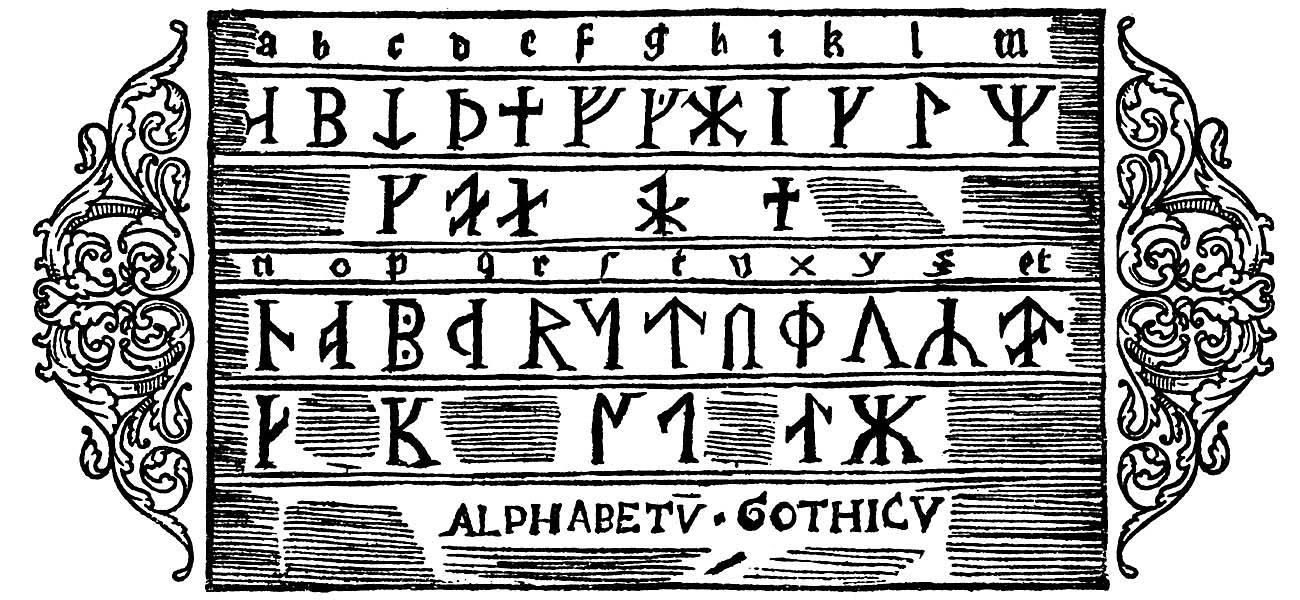 Olaus Magnus Historia om de nordiska folken. Bok 1 - Kapitel 36 - Om Götarnas alfabet. - Utgivningsår 1555.