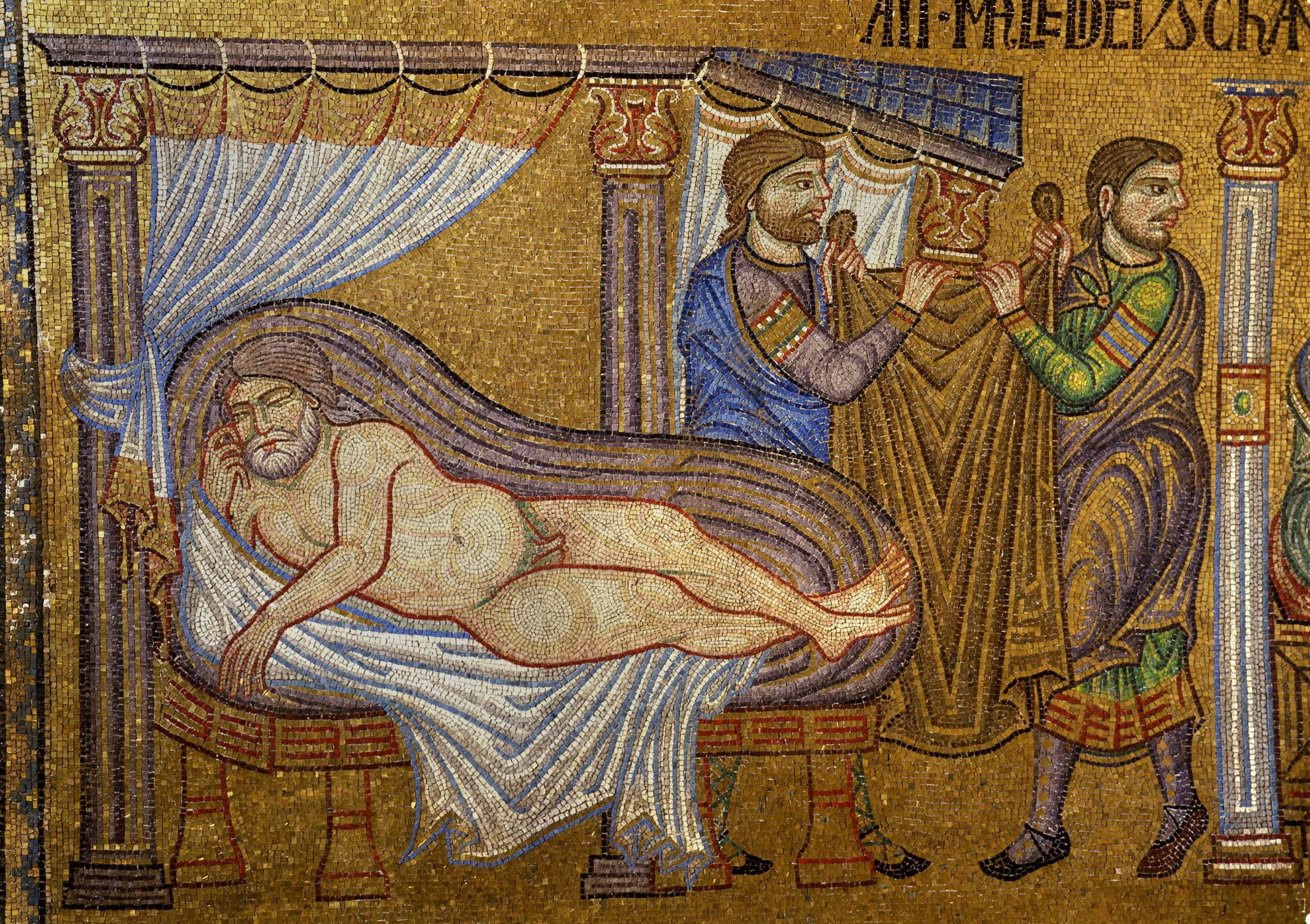 Сим и Иафет покрывают Ноя