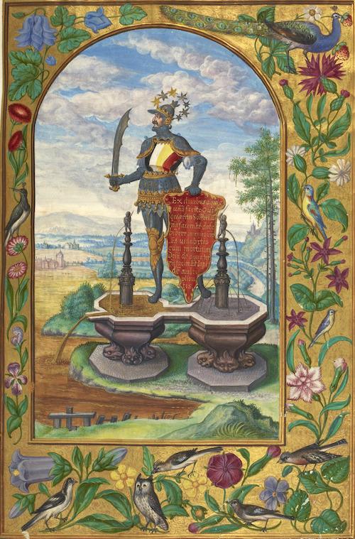 Splendor Solis - caption: 'Knight standing on fountains'