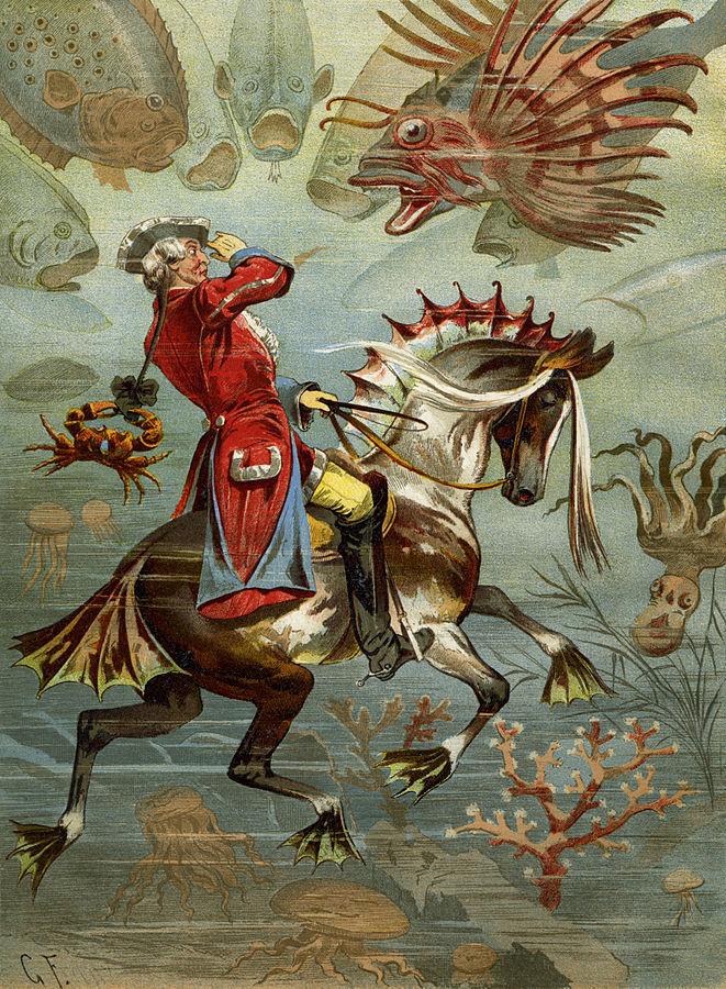 Барон путешествует под водой. (Иллюстрация Готфрида Франца)