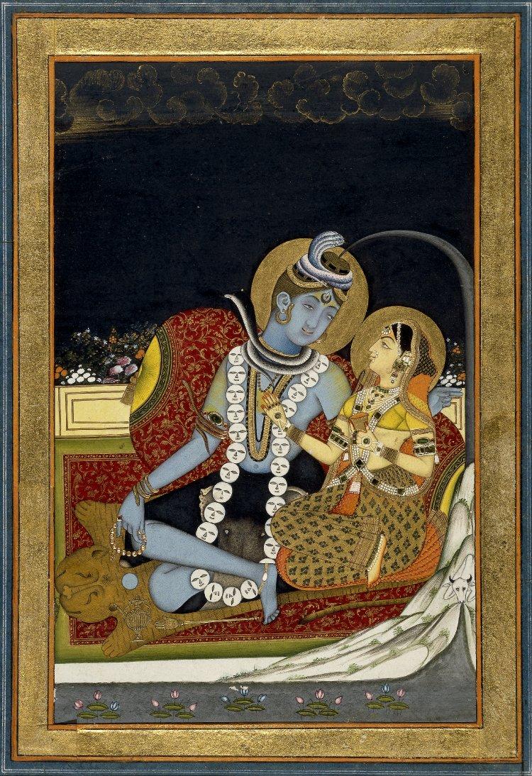 Śiva_and_Pārvatī_seated_on_a_terrace._1800_(circa)_BM