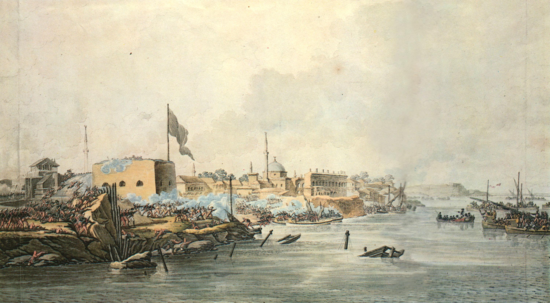 Разукрашенная гравюра С. Шифляра «Штурм Измаила 11(22) декабря 1790 года»