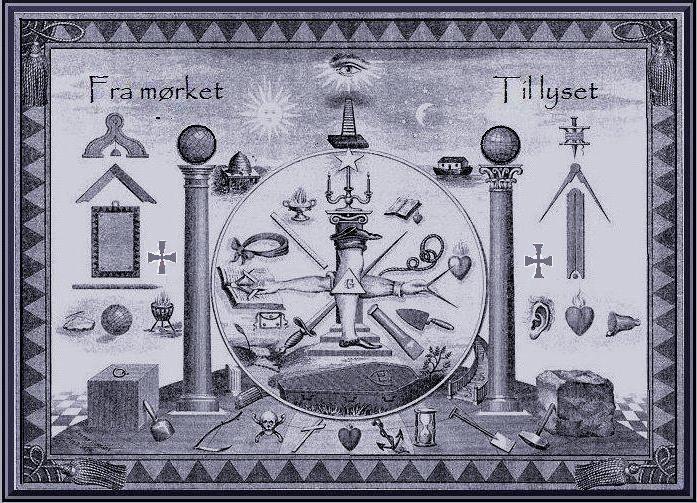 Рисунок с набором символики, используемой в Шведском уставе. Надпись на рисунке: «От тьмы к свету»