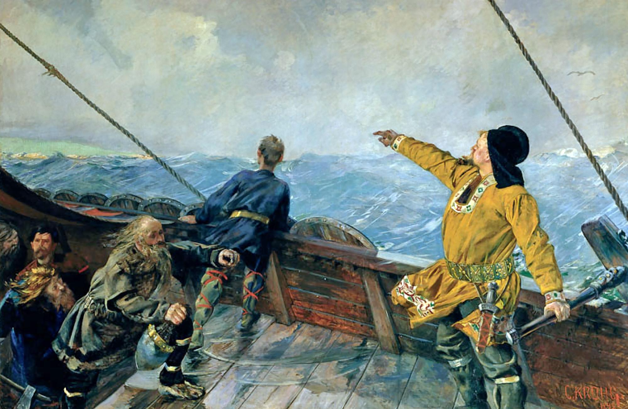 """""""Лейф Эрикссон открывает Америку"""", Кристиан Крог, 1893"""