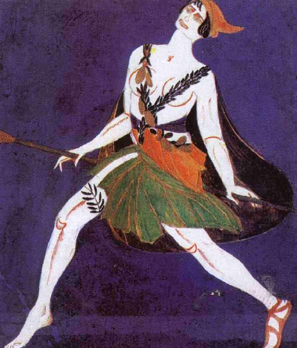 Эскиз костюма к драме И. Ф. Анненского «Фамира Кифаред». Менада. 1916