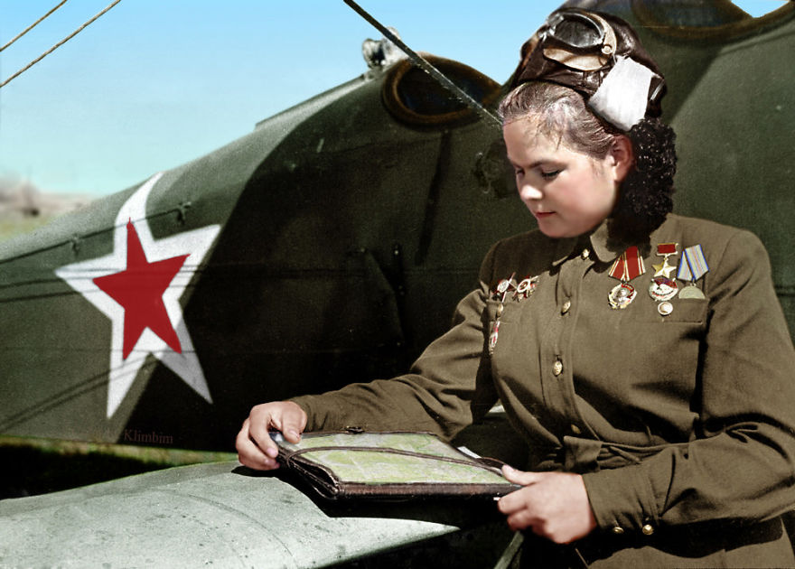 Yekaterina-Ryabova-Russian-Military-Pilot-Heroine-Of-The-Soviet-Army-1945