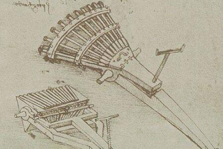 Пулемет и другое оружие, которое изобрел Леонардо да Винчи (8 фото)